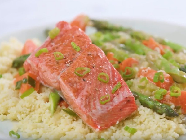 Miso Salmon with Asparagus & Carrots